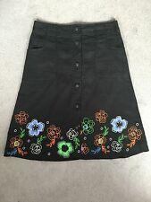 NEXT- BLACK LINEN BLEND A-LINE SKIRT WITH EMBROIDERED FLOWERS ALONG HEM - 8