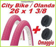 2 x COPERTONE 26 X 1 3/8  ROSA bicicletta CITY BIKE + 2 x CAMERE D'ARIA OMAGGIO