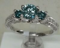18k white gold blue stone Fine Ring,1.43cttw.0.82ct Blue diamonds 0.61ct side Di