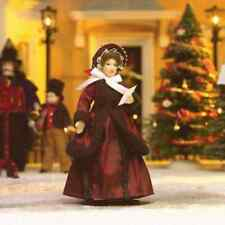 DOLLS HOUSE DOLL 1/12th SCALE  VICTORIAN LADY IN  RED COAT AND BONNET