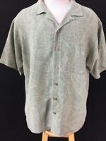 Island Shores mens Hawaiian shirt size XL green palm leaves silk short sleeve