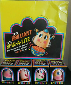 Vintage Spin A Lite Wind Up 1960 Battery Toy Full Set of 4 Colors New Old Stock