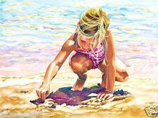 Beautiful Watercolor Painting of a Little Girl Playing on the Beach 18h x 24w
