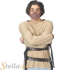 Mens Straight Jacket & Mask Psycho Hannibal Lecter Halloween Fancy Dress Costume
