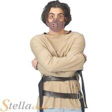 Mens Straight Jacket & Mask Psycho Hannibal Lecter Halloween Fancy Dress Costume