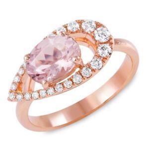 Certified 2.75cttw Morganite 0.40cttw Diamond 14KT Rose Gold Gold Ring
