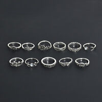 11Pcs/Pack Vintage Silver Ring Boho Arrow Moon Midi Finger Knuckle Rings Jewelry