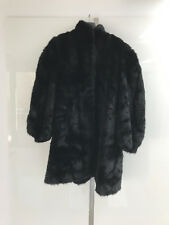Sexy schwarz black fake fur coat Jacket fetish with high heels XXL sissy 50
