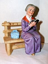 Lefton China Hand Painted Porcelain Old Lady Reading on Bench Figurine