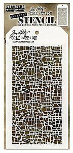 "Tim Holtz Tangled Line Mesh Strings Snakeskin Layering Stencil 4.125"" x 8.5"""