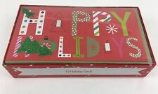 """Greeting Card Set Happy Holidays 7"""" Wide By 4"""" Tall Envelopes New W/ Flaw"""
