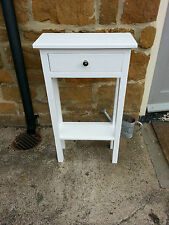 H80cm W45cm D20cm BESPOKE CONSOLE HALL STAND TABLE DRAWER WHITE SATIN