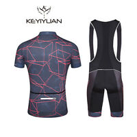 Men's Cycling Bib Kit Reflective Bike Jersey & Gel Padded Bib Shorts Coolmax Set
