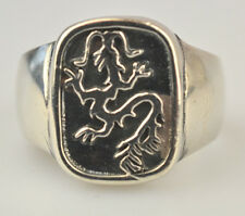MEN'S STERLING SILVER RING WITH RAISED DRAGON ON OXIDIZED BACKGROUND SIZE 13