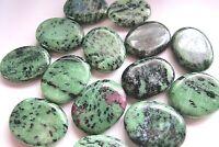 One Green Black Ruby Zoisite Flat Palm Stone 40mm Heart Chakra Healing Crystal