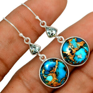 Copper Blue Turquoise & Blue Topaz 925 Sterling Silver Earring Jewelry BE60304