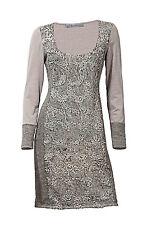 Ashley Brooke Designer-patchworkkleid M. Pailletten Taupe 44