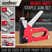 Heavy Duty Staple Gun Set Tacker Hand 2 in 1 1500Pc Nails Fastener Tool KIt New