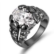 Size 11 Luxury White Topaz 18K Black Gold Filled Men's Wedding Engagement Ring