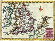 MAP ANTIQUE LA FEUILLE ENGLAND BRITISH ISLES NORTH SEA ART PRINT POSTER BB8193