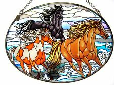 """AMIA STAINED GLASS SUNCATCHER 5.5"""" X 7"""" OVAL WILD MUSTANGS HORSES #5661"""