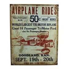 Vintage Replica Tin Metal Sign Airplane Rides Tri Motor Ford Biplane flying 1872