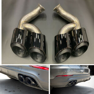 Exhaust Tips Muffler Pipe For Porsche Cayenne V6 2015-2017 2016 Black GTS Style