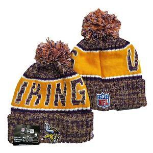 NEW ERA NFL Minnesota Vikings On field Sideline Beanie Winter Pom Knit Cap Hat