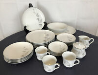 White Silver Trim Gray Rose China Bristol  Dinner Chateau Rose MCM Set 32 Pieces