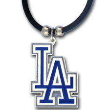Los Angeles Dodgers Rubber Cord Necklace w/ Logo Charm Licensed MLB Jewelry