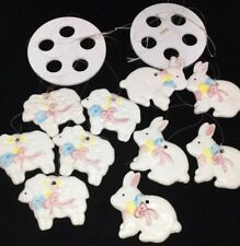 Wind Chimes Mobile Ceramic white sheep bunnies 2 sets lot rabbits childs room