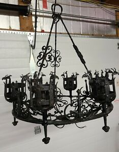 Antique Spanish Wrought Iron Chandelier