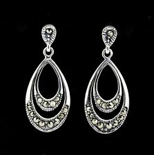 Sterling Silver 925 Marcasite Vintage Style Double Teardrop Earrings RRP $85