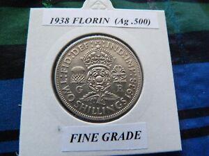 FINE? 1938 FLORIN  (Silver .500)  George VI pre 1947