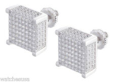 Sterling Silver .925 Mens Cubic Zirconia 11mm Stone Square Stud Men's Earrings