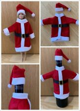 Red Christmas Santa Dress Hat Outfit as Wine Bottle Cover - Fits Barbie Dolls