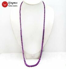 """Purple 4-8mm Round Natural Sugilite Gemstone 33"""" Long Necklace for Women n6384"""