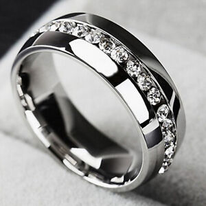 Fashion Titanium Cz Rings Stainless Steel Wedding Engagement Ring for Women Gift