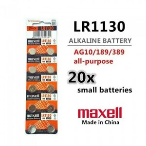 20 Pieces LR1130 Battery (AG10/390) 1.5v Alkaline Button Battery - Free Shipping