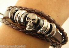Cuir Véritable Marron Crâne Bracelet Bracelet Bracelet Surfeur Tête Squelette A73