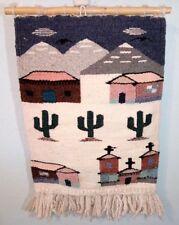 Southwest Wool Hand Woven Tapestry Wall Hanging Folk Art Cactus Church Village