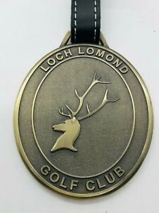 Loch Lomond Golf Club UK Brass Milled Leather Strap Metal Unengraved Bag Tag