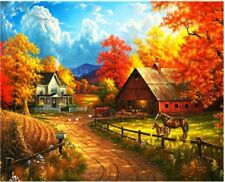 """Autumn Village 16X20"""" Paint By Number Kit DIY Acrylic Painting on Canvas Unframe"""