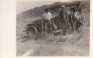 VINTAGE RPPC: MEN HUNTING, RIFLES, SMALL GAME, ANTIQUE CAR