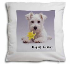 'Happy Easter' Westie Soft Velvet Feel Cushion Cover With Inner Pi, AD-W7DA1-CPW