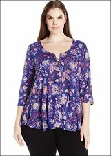 Lucky Brand Womens 3X Purple Blue Floral Swing Button Front Top Blouse Shirt NEW