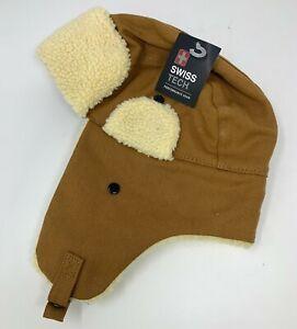 Men's Adult OSFM Swiss Tech Trapper Hat Tan Cotton Canvas Faux Sherpa Trim