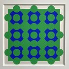 """Victor Vasarely - """"Constellation Green Blue"""" Serigraph (Matted, ca.1965)"""