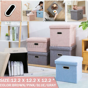 Folding Fabric Ottoman Storage Box Bench Stool Cube Seat Footrest