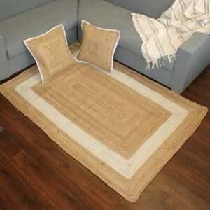 Rug 100% natural jute braided handmade reversible carpet Modern Living area rug
